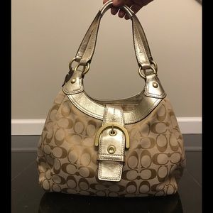 Gold and cream Coach shoulder bag